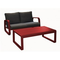 Canapé Antonino 2 places + table basse rouge