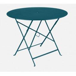 Table métal Bistro Ø 96cm bleu acapulco FERMOB